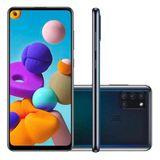 """Smartphone Samsung Galaxy A21s Preto 64GB 4G Tela 6.5"""" Câmera Quádrupla 48GB Selfie 13MP Dual Chip Android 10"""