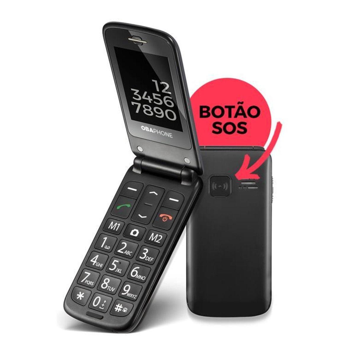 Celular Obabox Obaphone Flip Preto - Dual Chip