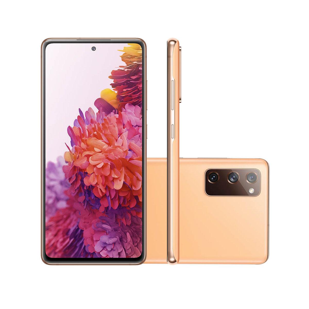 "Smartphone Samsung Galaxy S20 FE 128GB Cloud Orange 4G Tela 6.5"" Câmera Frontal 32MP Android 6.6"