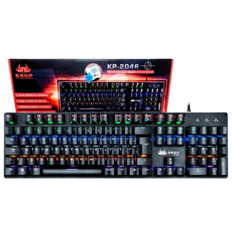Teclado Usb Gamer Mecânico Led Kp-2046 Knup
