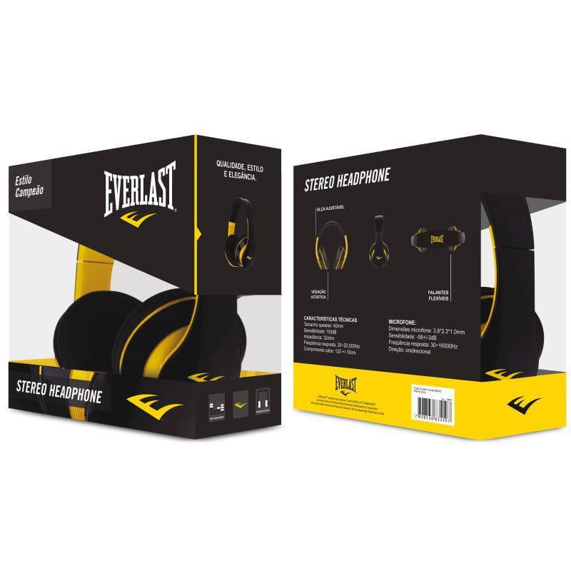Fone de Ouvido Headphone Pro Preto e Amarelo Everlast 23169