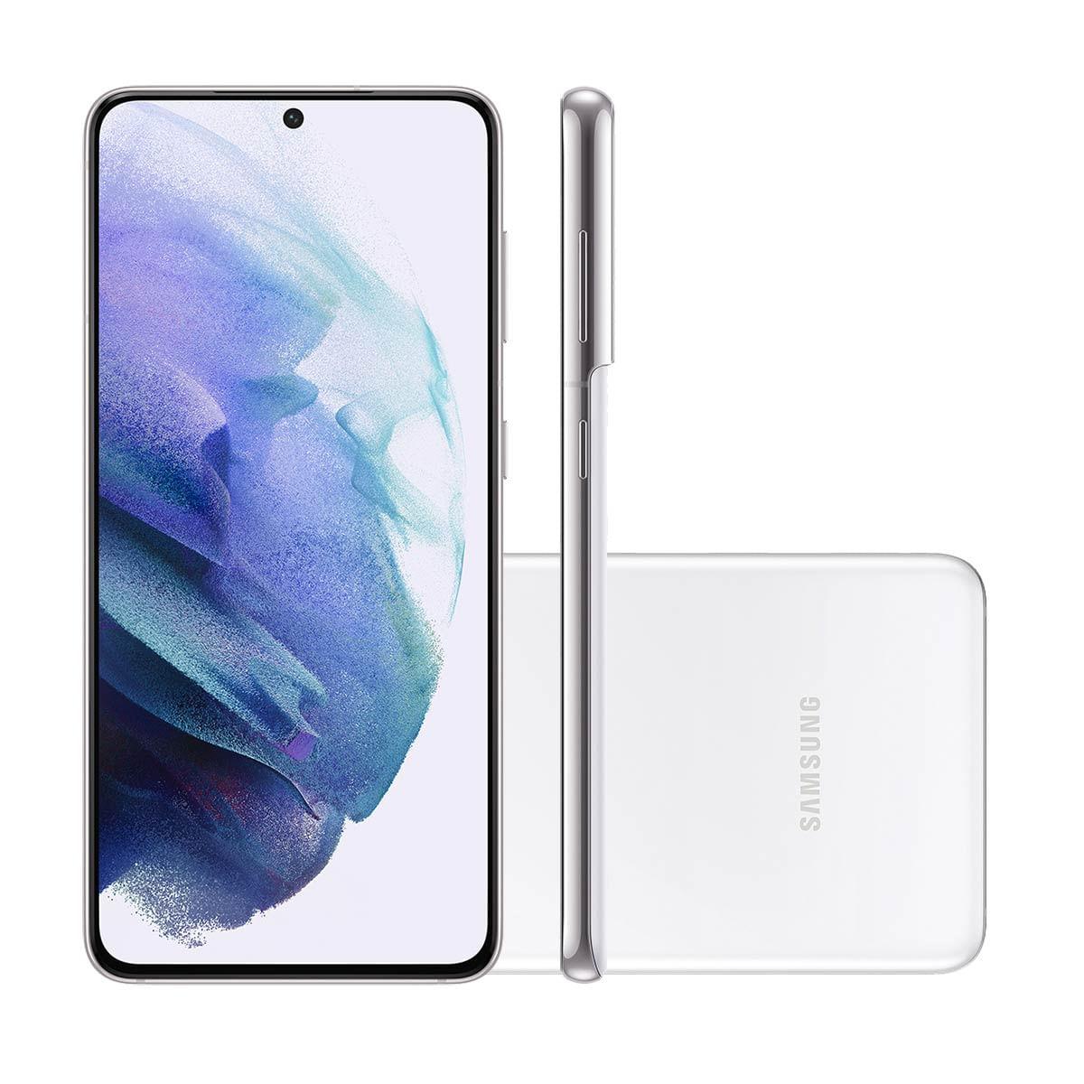 "Smartphone Samsung Galaxy S21 5G 128GB Branco Tela 6.2"" Câmera Tripla 64MP Selfie 10MP Dual Chip Android 11"