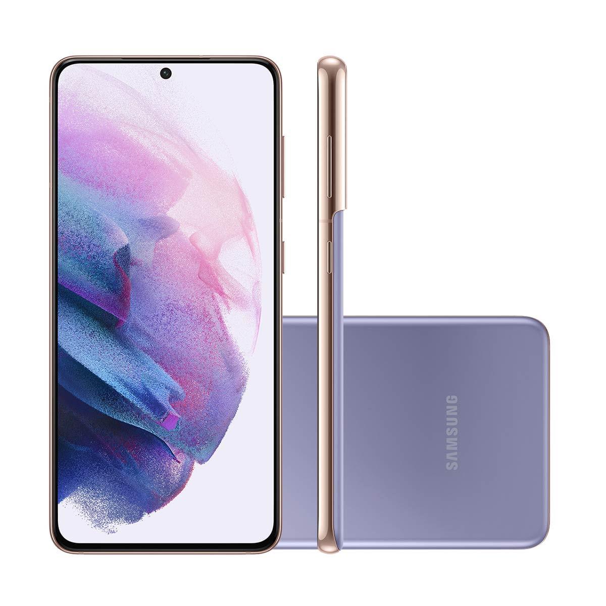 "Smartphone Samsung Galaxy S21 5G 128GB Violeta Tela 6.2"" Câmera Tripla 64MP Selfie 10MP Dual Chip Android 11"