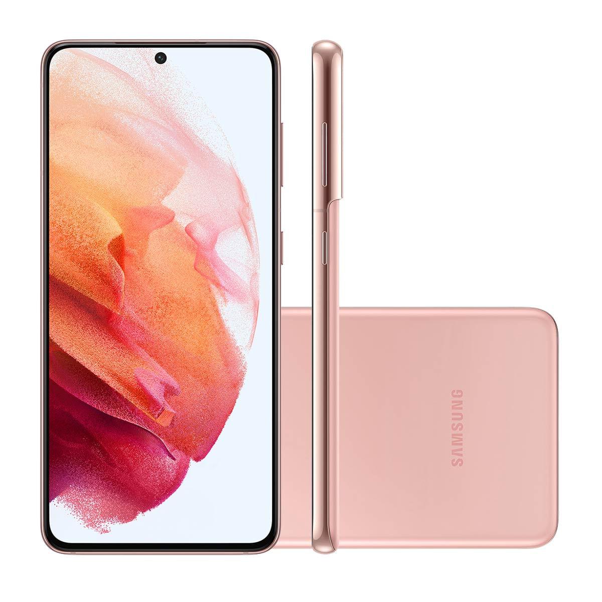 "Smartphone Samsung Galaxy S21 5G 128GB Rosa Tela 6.2"" Câmera Tripla 64MP Selfie 10MP Dual Chip Android 11"