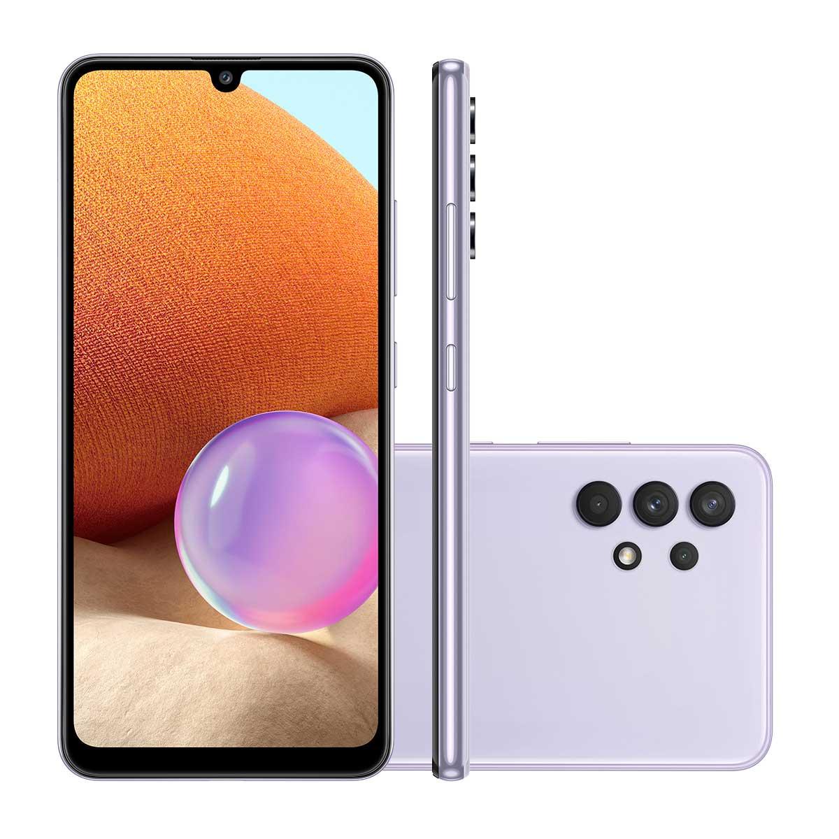 """Smartphone Samsung A32 128GB Violeta 4G Tela 6.4"""" Câmera Quádrupla 64MP Selfie 20MP Dual Chip Android 11.0"""