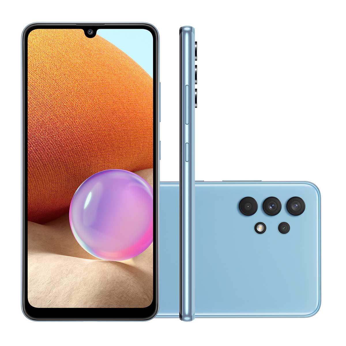 """Smartphone Samsung A32 128GB Azul 4G Tela 6.4"""" Câmera Quádrupla 64MP Selfie 20MP Dual Chip Android 11.0"""