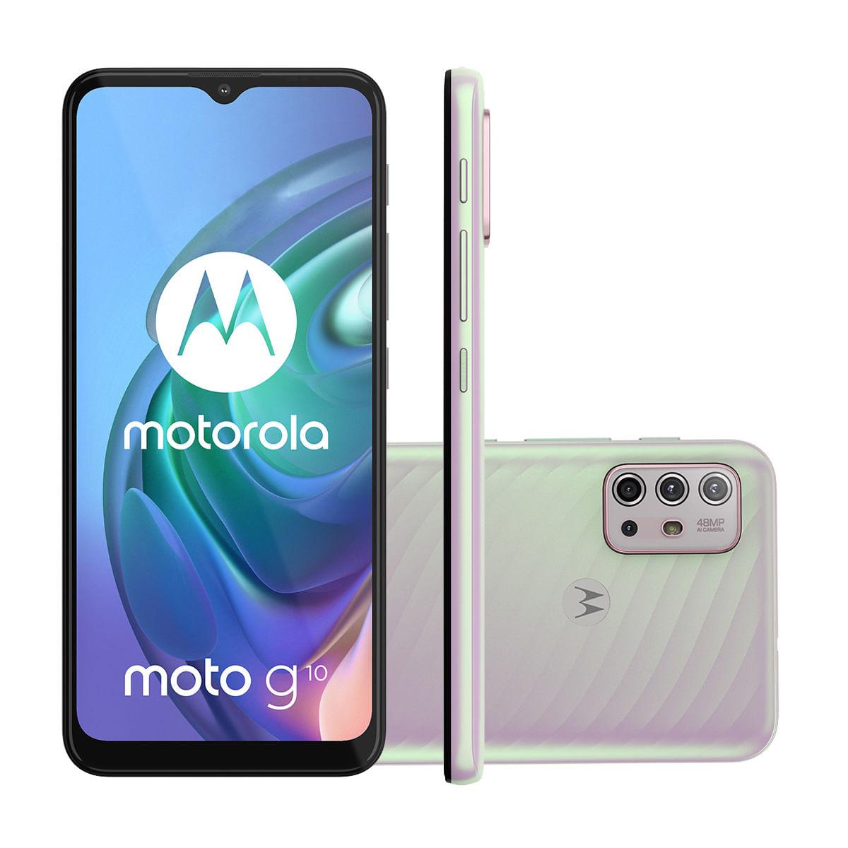 "Smartphone Motorola Moto G10 64GB Branco Floral 4G Tela 6.5"" Câmera Tripla 48MP Selfie 8MP Android 11"