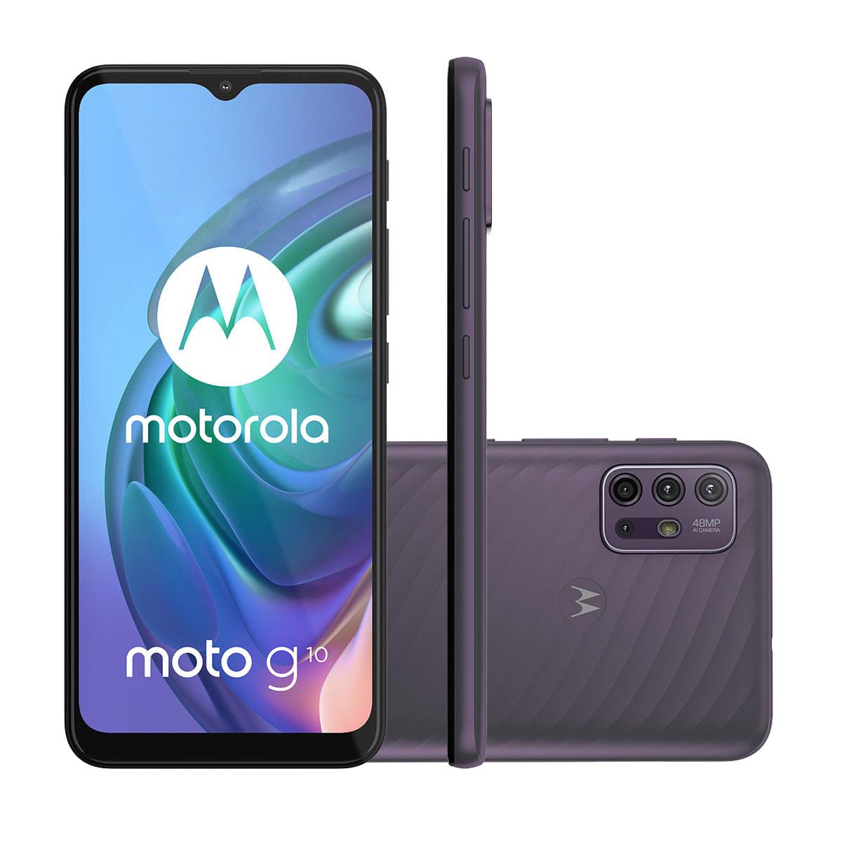 "Smartphone Motorola Moto G10 64GB Cinza Aurora 4G Tela 6.5"" Câmera Tripla 48MP Selfie 8MP Android 11"