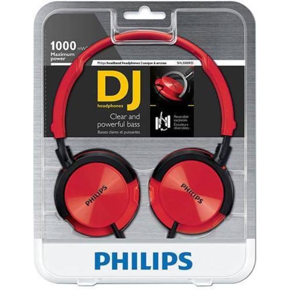 Fone de Ouvido Headphone Dj Vermelho Philips Shl3000rd00
