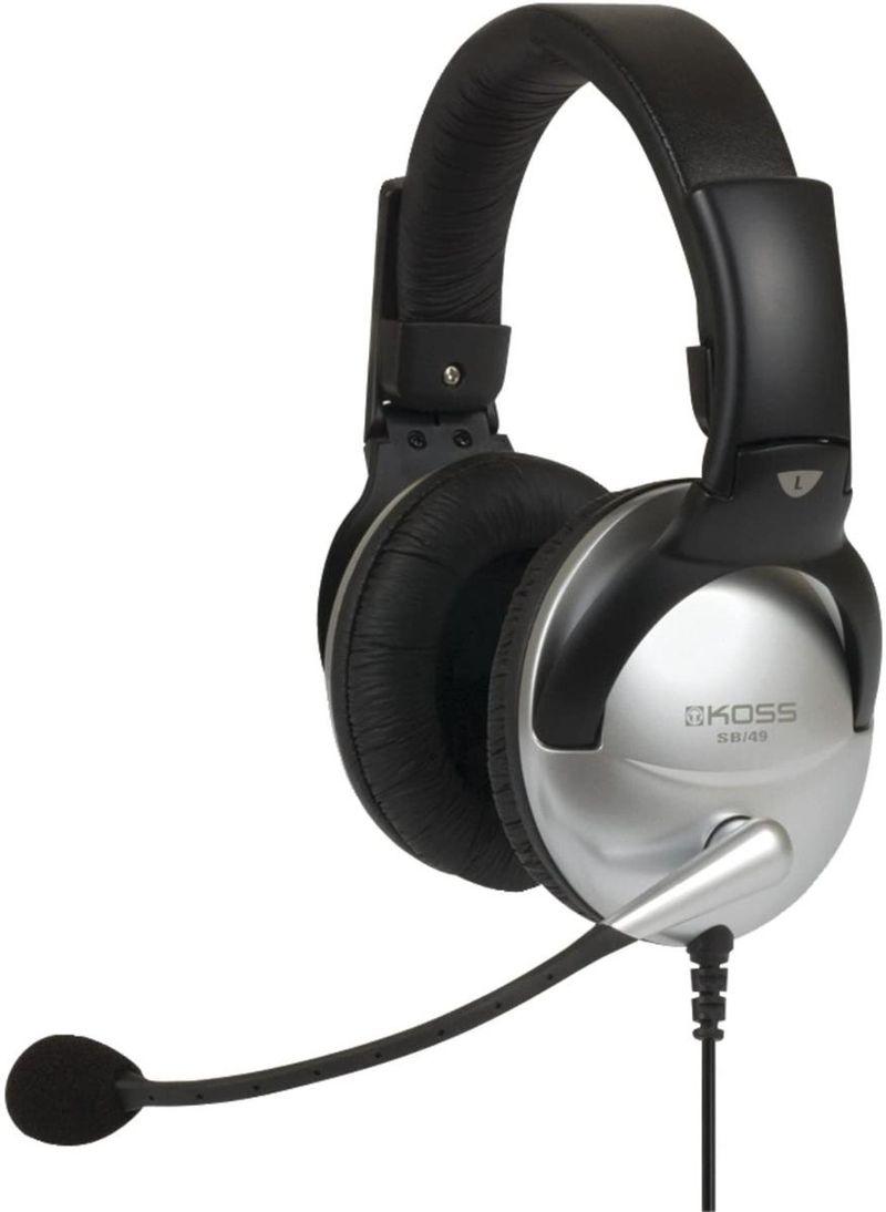 Fone de Ouvido Headset Preto e Prata Koss Sb49