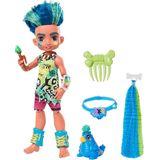 Boneca de Ardósia do Clube das Cavernas da Mattel (10 polegadas, Cabelo Azul) Boneca de Moda Pré-Histórica Poseable com Animal de Estimação de Dinossa