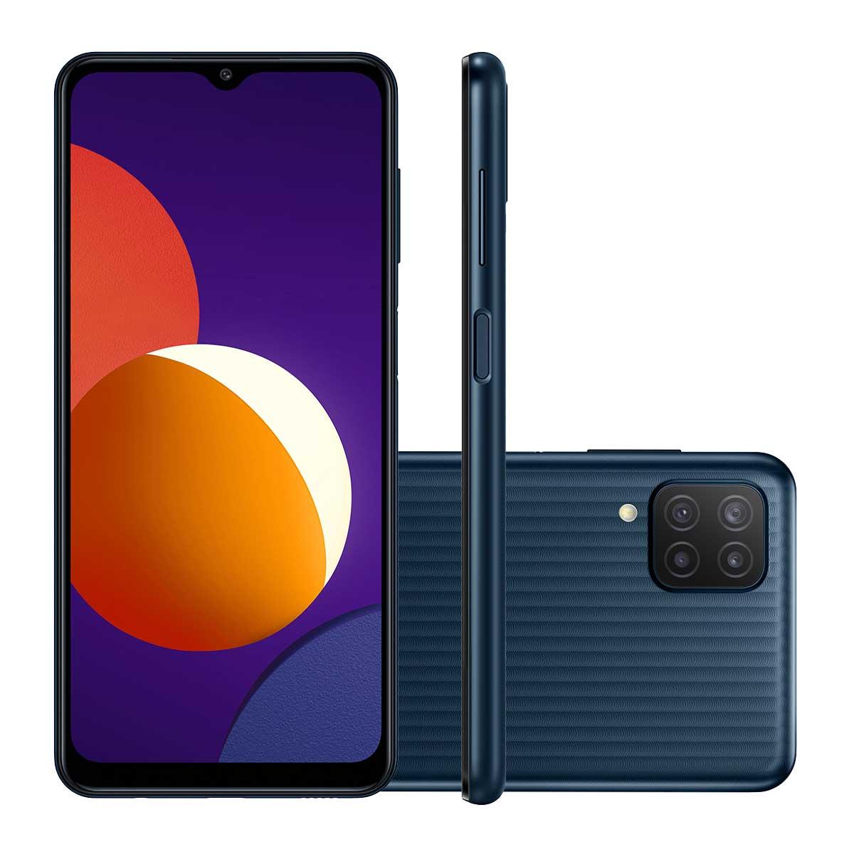 "Smartphone Samsung Galaxy M12 Câmera Quádrupla Traseira de 48MP + 5MP + 2MP + 2MP Selfie de 8MP Tela de 6.5"" 64GB, 4GB RAM Octa Core 5000mAh"