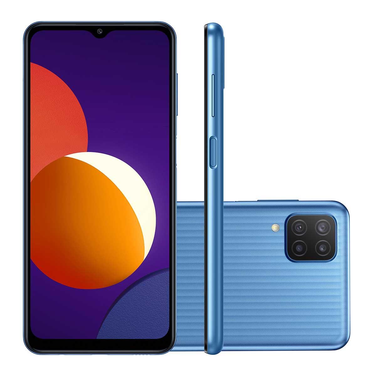 "Smartphone Samsung Galaxy M12 Câmera Quádrupla Traseira de 48MP + 5MP + 2MP + 2MP Selfie de 8MP Tela de 6.5"" 64GB, 4GB RAM Octa Core, 5000mAh"