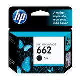 Cartucho HP 662 Preto Original (CZ103AB) Para HP DeskJet 2516, 3516, 3546, 2546, 1516, 4646, 2646