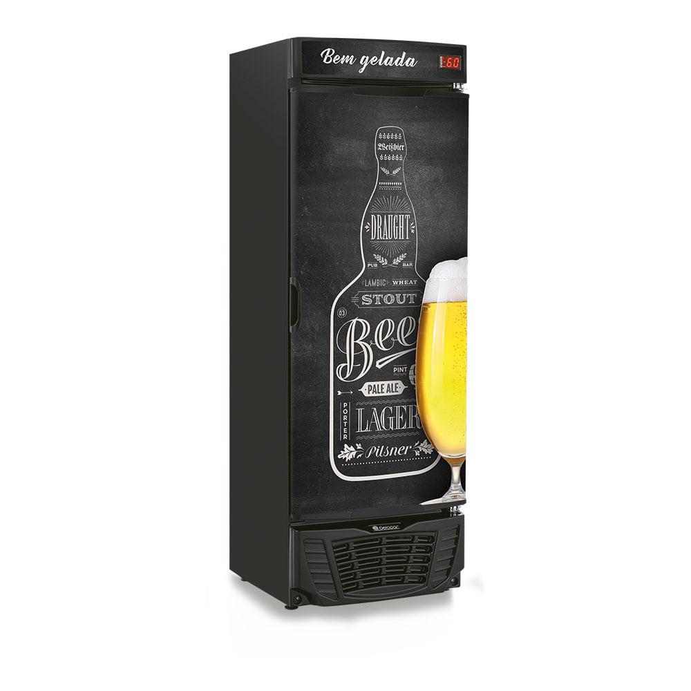 Geladeira/refrigerador 450 Litros 1 Portas Adesivado Quadro Negro - Gelopar - 110v - Grba450qc