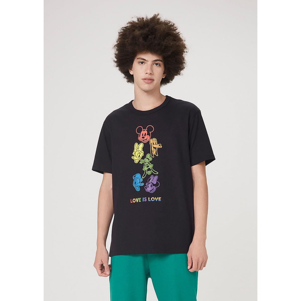 Camiseta Comfort Em Malha Rústica Mickey Pride