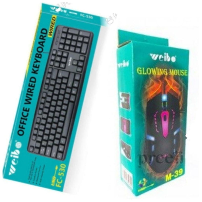 Kit Teclado e Mouse Usb 1000 Dpis Preto Fc-530 Weibo