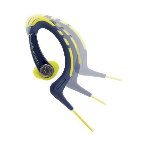 Fone de Ouvido Intra-auricular Com Microfone Esportivo Azul e Amarelo Audio Technica Ath-sport1isny