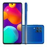 """Smartphone Samsung Galaxy M62 128GB Azul Tela 6.7"""" Câmera Quadrupla 64MP Selfie 32MP Dual Chip"""