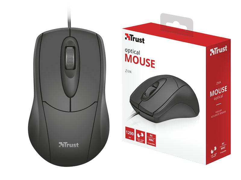 Mouse Usb Óptico Led 1200 Dpis Ziva 21947 Trust