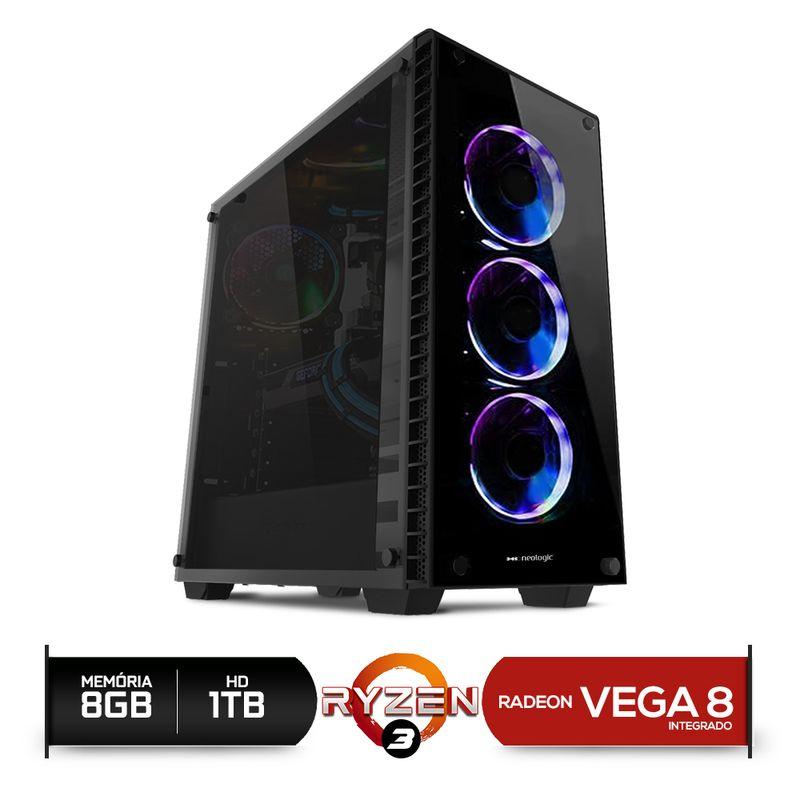 Desktop Neologic Nli81142 Amd Ryzen 3 2200g 3.50ghz 8gb 1tb Amd Radeon Vega 8 Windows 10 Pro Sem Monitor