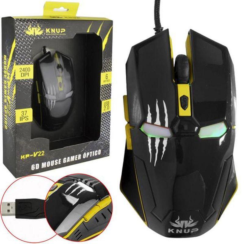Mouse Usb Óptico Led 2400 Dpis Gamer Iron Man Kp-v22 Knup