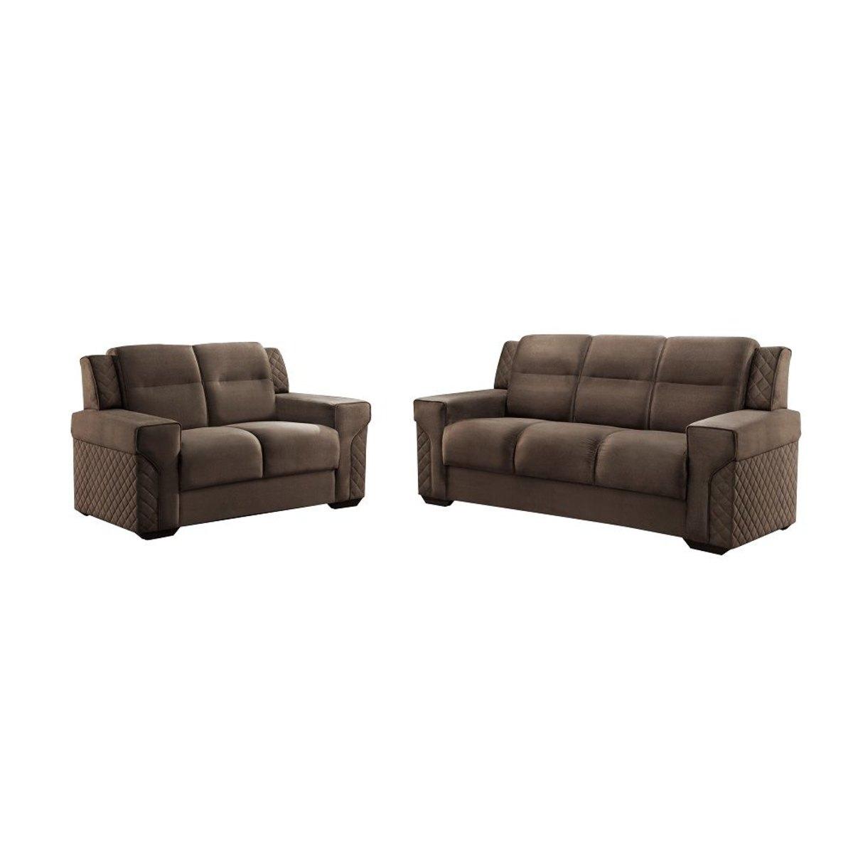 Tecido Animale Marrom Carrefour, Brown Fabric Recliner Sofa Set