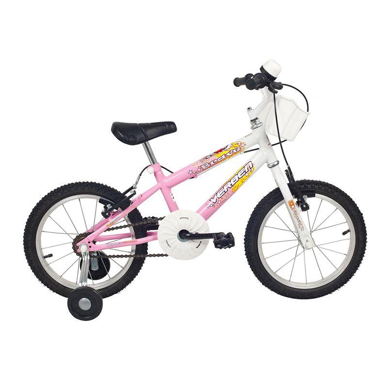 Bicicleta Verden Brave Aro 16 Rígida 1 Marcha - Branco/rosa