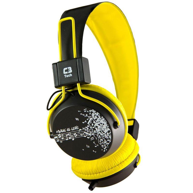 Fone de Ouvido Headset Stereo Preto e Amarelo C3 Tech Mi2358ry