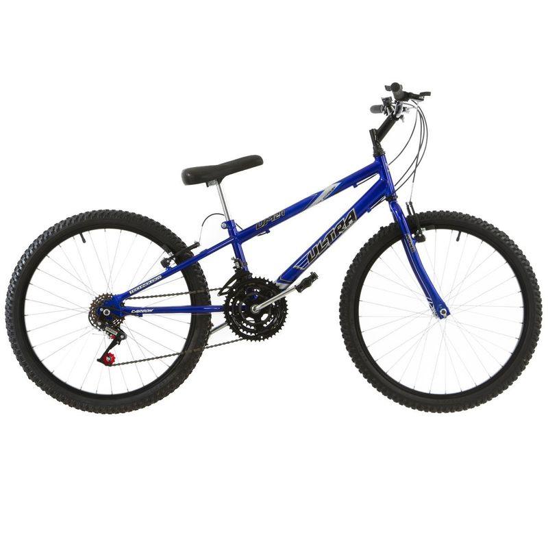 Bicicleta Ultra Bikes Chrome Line Rebaixada Aro 24 Rígida 18 Marchas - Azul