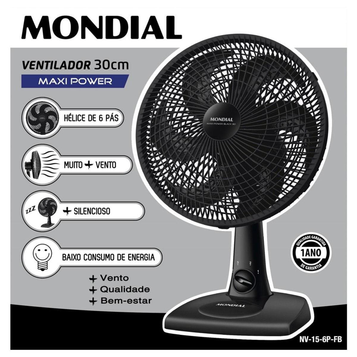 Imagem de Ventilador de Mesa Mondial 6 Pás 30cm - NV-15