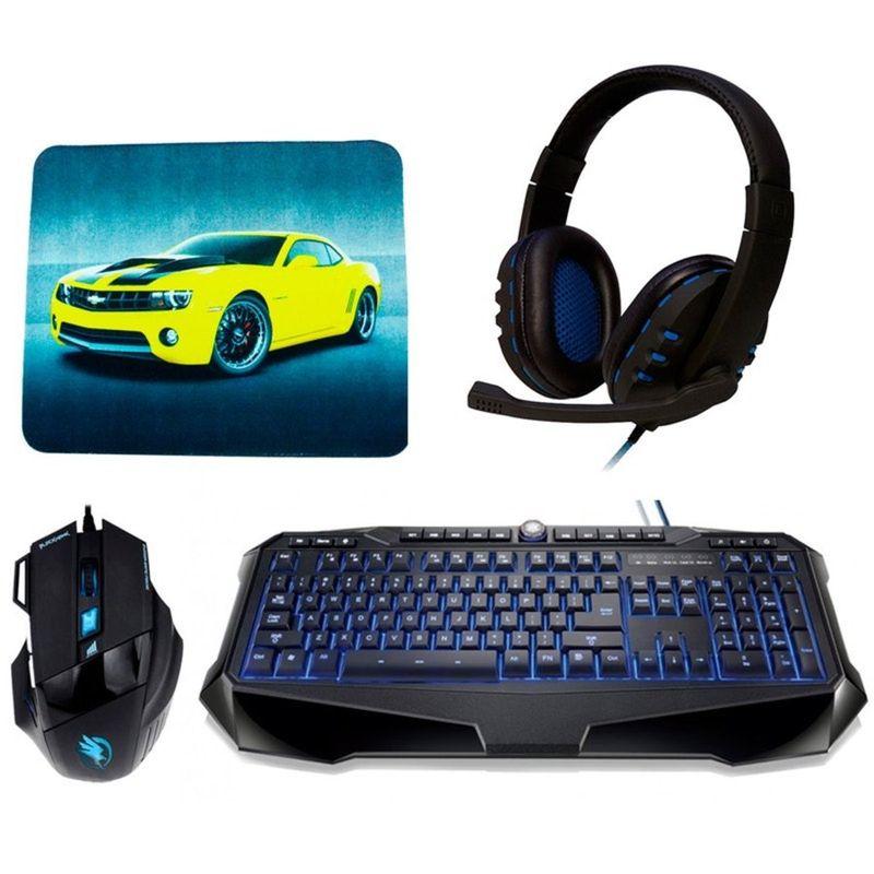 Kit Teclado e Mouse Usb Óptico Led 2400 Dpis Gamer Black Hawk Gk702/om703 Fortrek