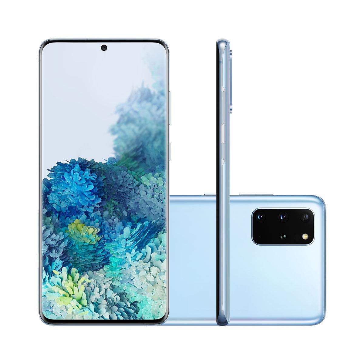Smartphone Samsung Galaxy S20 Plus 128GB Cloud Blue 4G Tela 6.7 Câmera Quádrupla 64MP Selfie 10MP Android 10