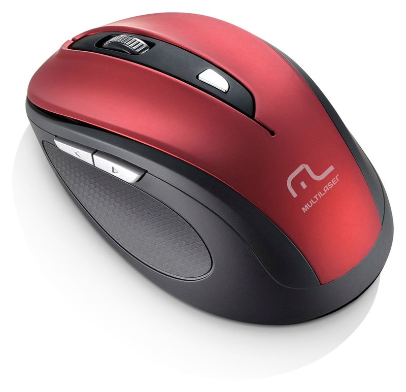 Mouse Wireless Óptico Led 1600 Dpis Comfort Vermelho Metalizado Mo239 Multilaser