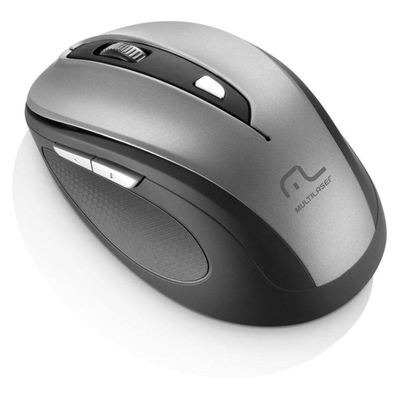 Mouse Wireless Óptico Led 1600 Dpis Comfort Cinza e Preto Mo238 Multilaser