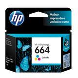 Cartucho HP 664 Colorido Original (F6V28AB) Para HP Deskjet 2136, 2676, 3776, 5076, 5276