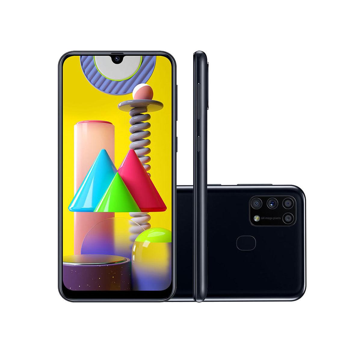 "Smartphone Samsung Galaxy M31 128GB Preto 4G Tela 6.4"" Câmera Quádrupla 64MP Selfie 32MP Dual Chip Android 10"